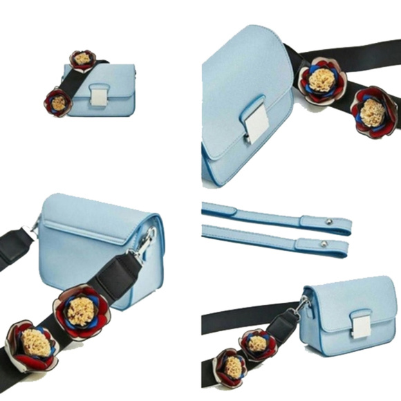 58a47d418c ZARA Crossbody Baby Blue Bag With Floral Strap